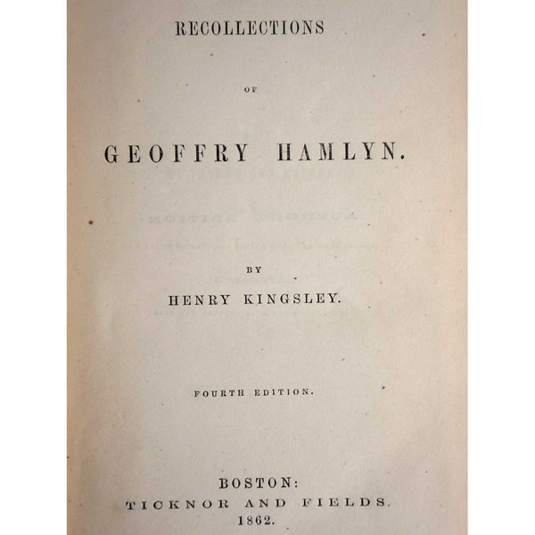 Book: Recollections of Geoffrey Hamlyn by Henry Kingsley
