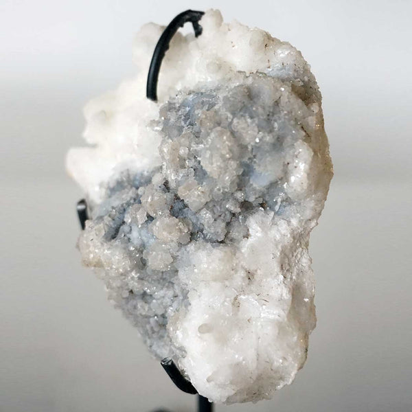 Small Crystal Specimen Rock with Custom Iron Stand