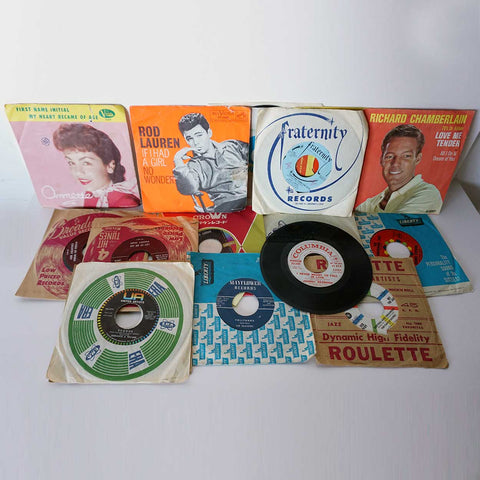 Collection of 16 Vintage Vinyl Records 45 RPM