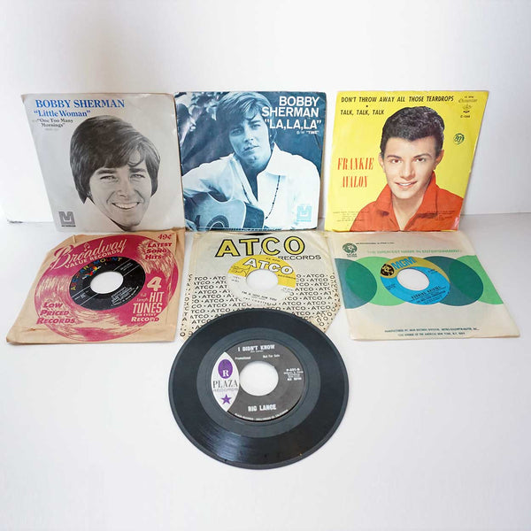 Collection of 7 Vintage Vinyl Records 45 RPM