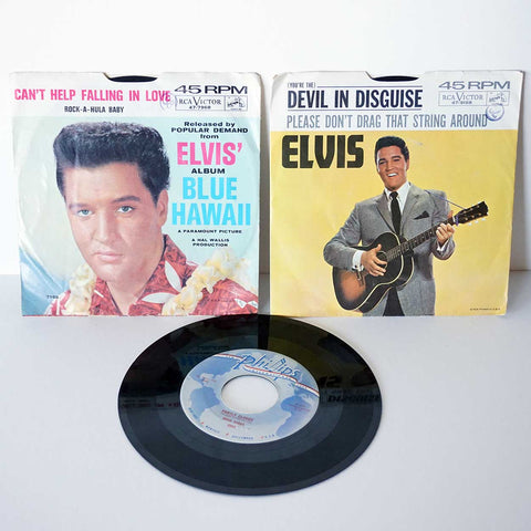Collection of 3 Vintage Elvis Presley and Brad Suggs Vinyl Records 45 RPM