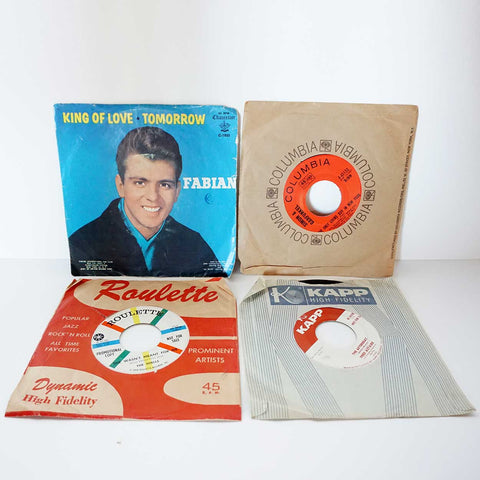 Collection of 5 Vintage Vinyl Music Records 45 RPM