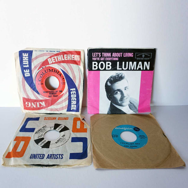 Collection of 4 Vintage Vinyl Music Records 45 RPM
