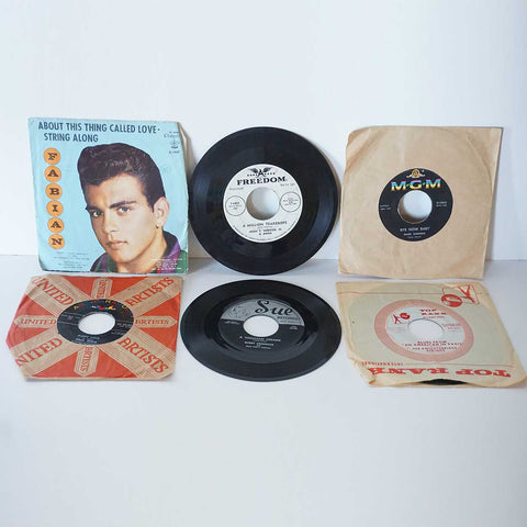 Collection of 6 Vintage Vinyl Records 45 RPM