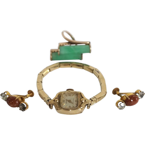 Vintage Gruen 10k Gold Lady's Wristwatch, Earrings and Green Stone Cocktail Ring