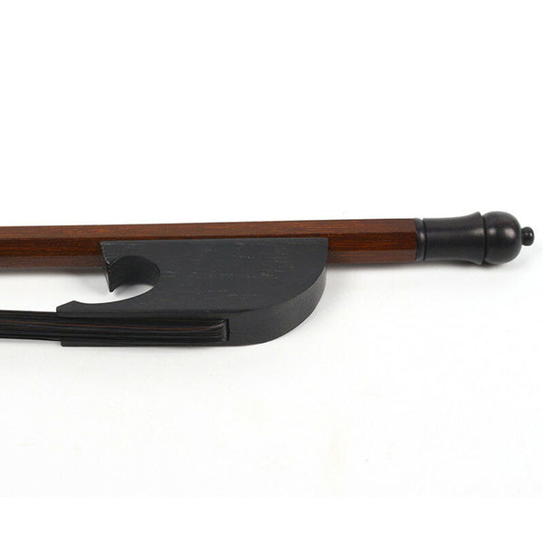Contemporary Baroque Style Ebony Frog and Black Horsehair 4/4 Violin Bow