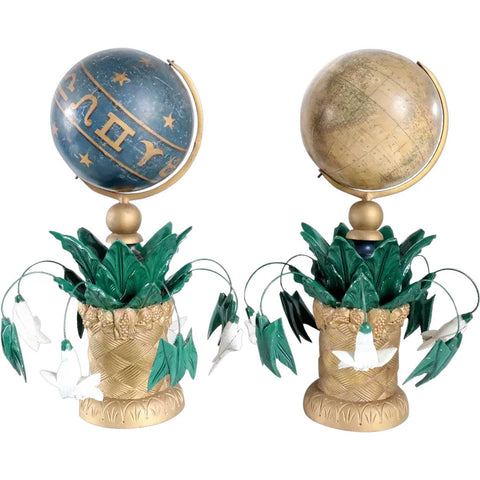 Pair American F. Mc. Dermott Masonic Painted Wood and Gesso Celestial and Terrestrial Globes