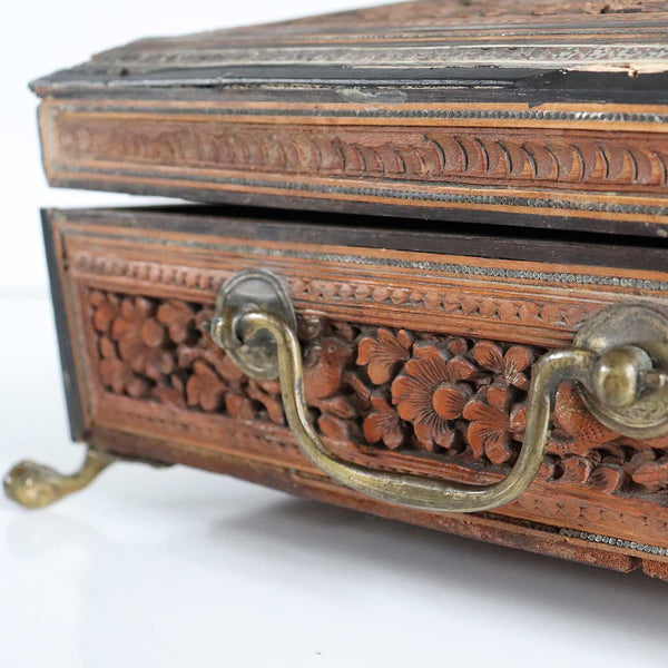 Anglo Indian Vizagapatam Brass Mounted Sandalwood and Mosaic Desk Box