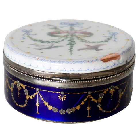 Small French Silver Mounted Hand Painted Enamel Round Love Token Box