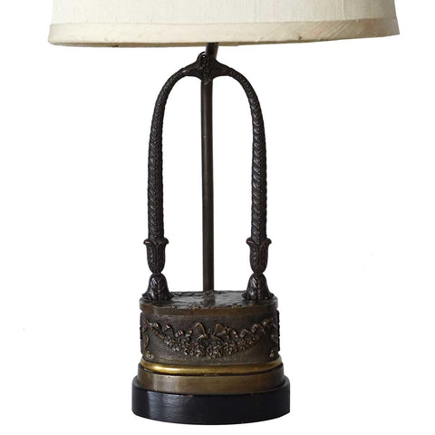 Small Neoclassical Bronze One-Light Table Lamp