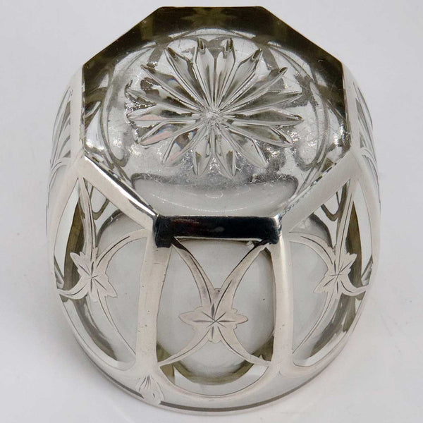 American Heisey Silver Overlay Glass Toothpick Holder