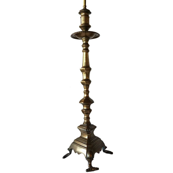 Large Baroque Style Bronze Candlestick Two-Light Table Lamp
