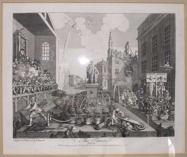 After WILLIAM HOGARTH Etching and Engraving on Paper, The Times, Plate II