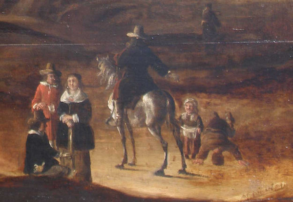Dutch School Oil on Panel Painting, Low Tide at Egmond aan Zee