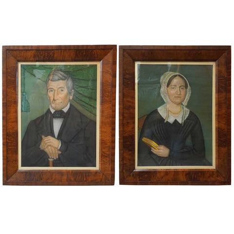 JACOB BAILEY MOORE New England Folk Art Pastel Portraits of Stephen and Dorothy (Dolly) Smyth