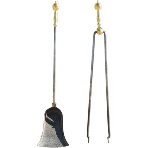 Set of Two Victorian Brass and Iron Fireplace Shovel and Tongs Hearth Tools