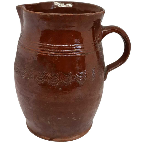 American New England Glazed and Incised Redware Pottery One-Handle Jug / Pitcher