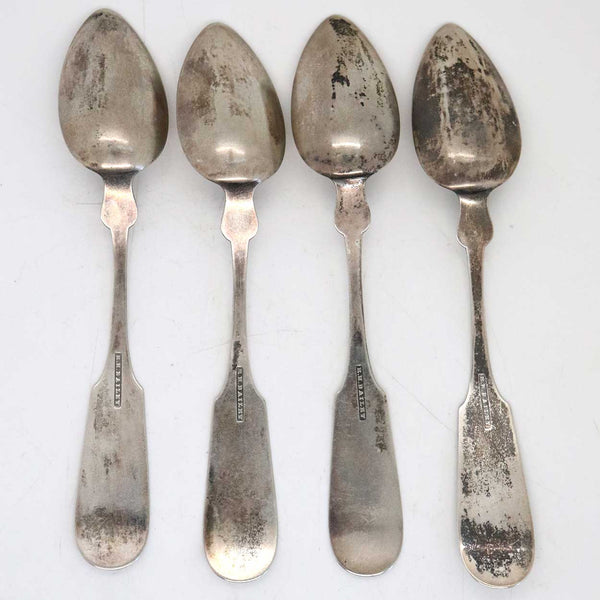 Set of Four American Roswell Hopkins Bailey Coin Silver Fiddle Pattern Spoons