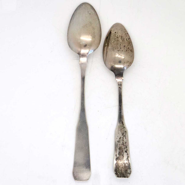 Two American Coin Silver Coffin Handle Spoons
