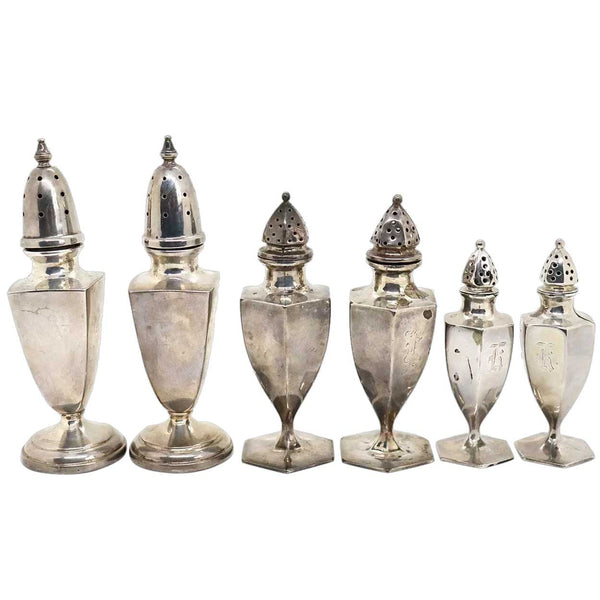 Collection of Six American Sterling Silver Salt and Pepper Shakers