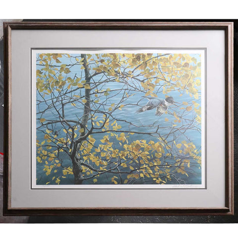 ROBERT BATEMAN Limited Edition Signed Lithograph Print, Kingfisher and Aspen, 762/950