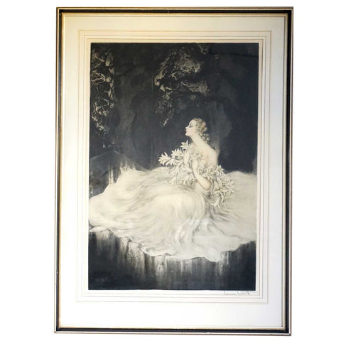 LOUIS ICART Etching and Drypoint, Lilies
