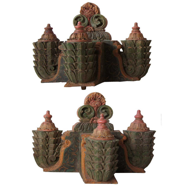 Pair of South Indian Painted Teak Architectural Brackets