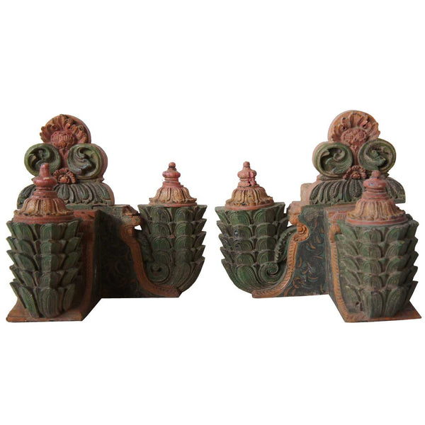 Pair of South Indian Painted Teak Corner Architectural Brackets