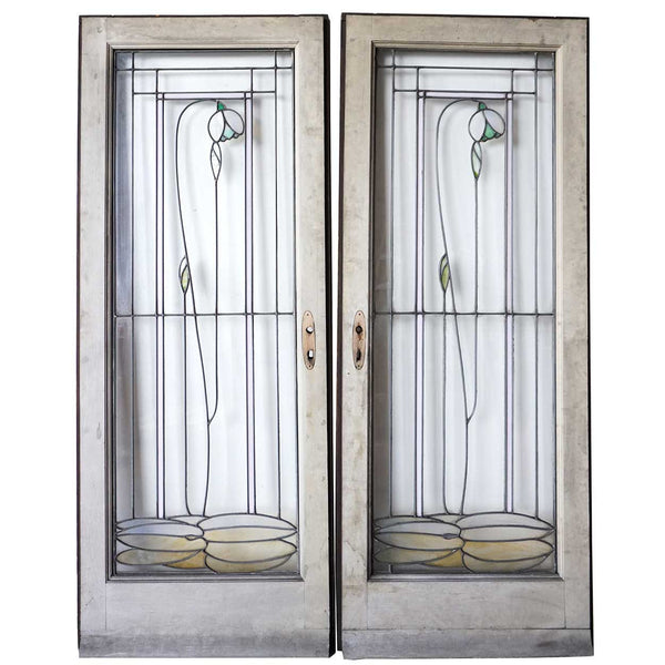 Pair of American George W. Maher Granville House Stained and Leaded Glass Windows