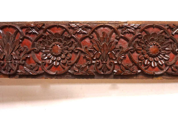 Fine Indian Haveli Carved Teak Architectural Panel