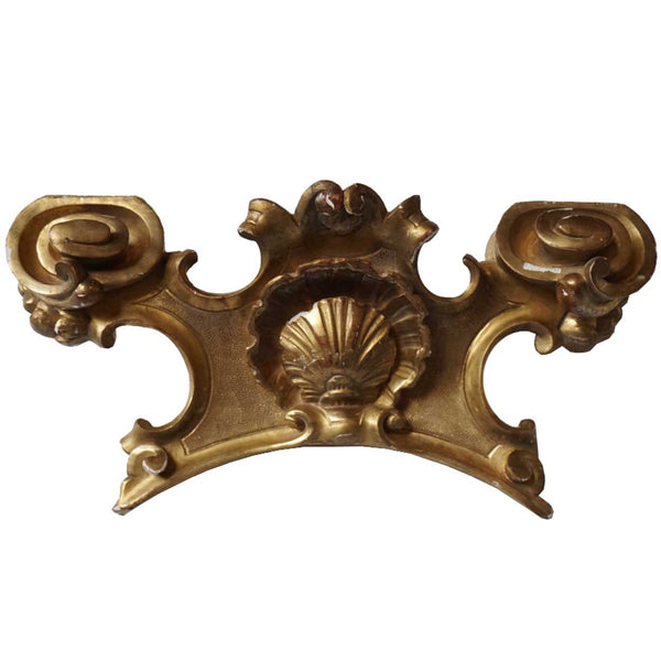 French Gilt Pine Carved Shell Scroll Pediment
