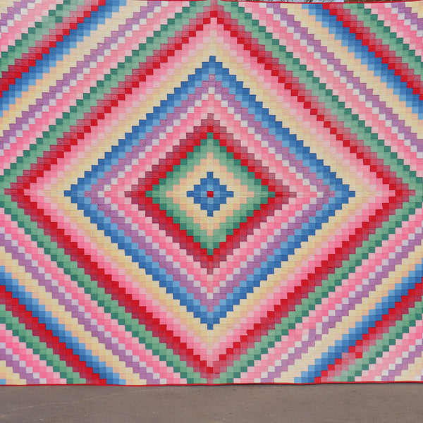 Vintage American Cotton Multi-Colored Diamond Patchwork Quilt