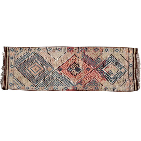 Brown Geometric Diamond Pattern Runner Rug