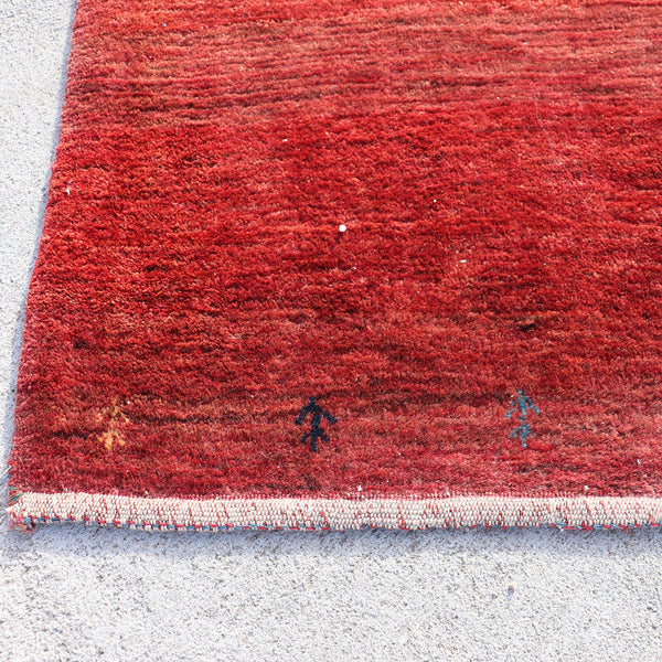 Small Chinese Red and Blue Dotted Wool Rug with Two Camels
