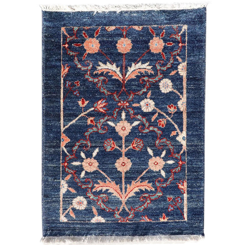 Small Chinese Wool Blue Floral Rug with Fringe