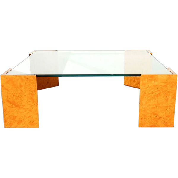 Vintage Italian Glass Top Burled Pale Wood Square Low Cocktail / Coffee Table