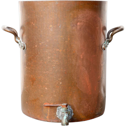 Large English Victorian Copper Pot with Handles and Spigot