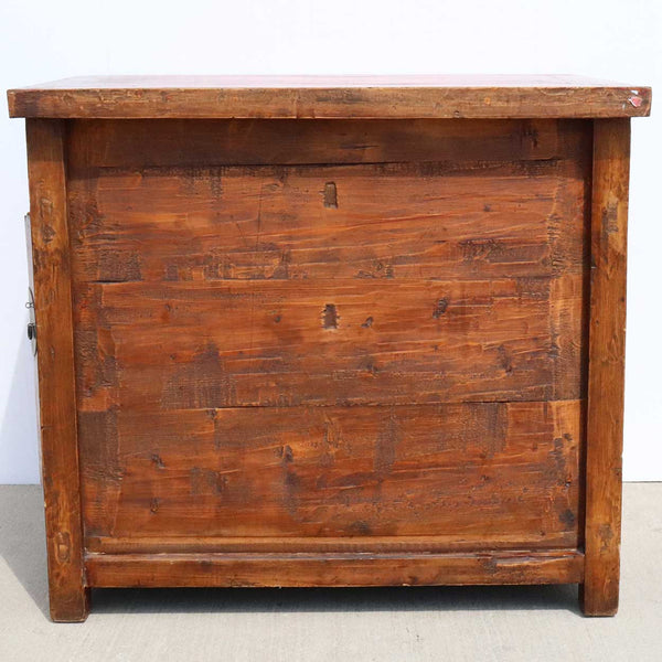 Small Mongolian Red Painted Pine and Poplar Double-Sided Cabinet