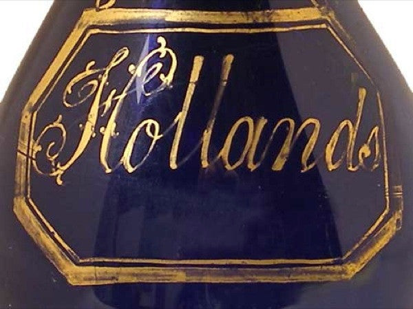 English George III Bristol Blue Glass Hollands Gin Decanter