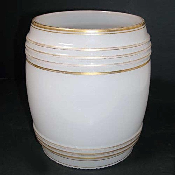 Large Bohemian Gilt and Opaline Glass Novelty Punch Barrel