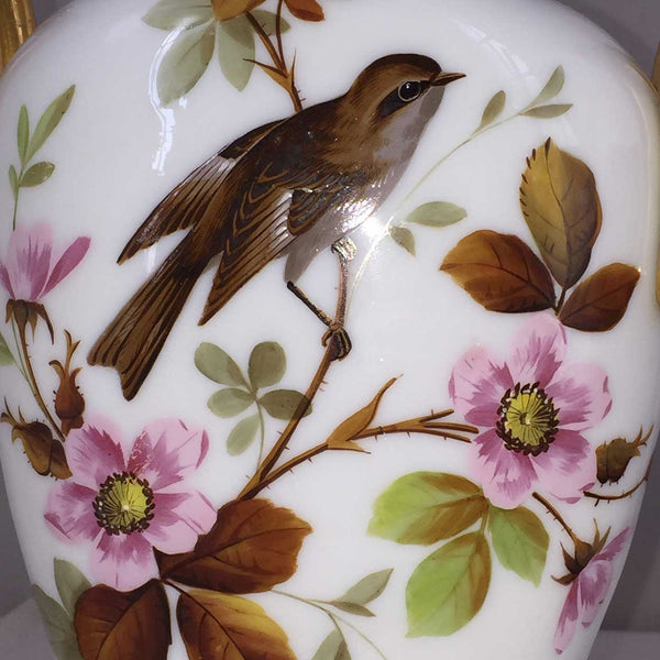 English Victorian Bristol Painted Glass Covered Urn