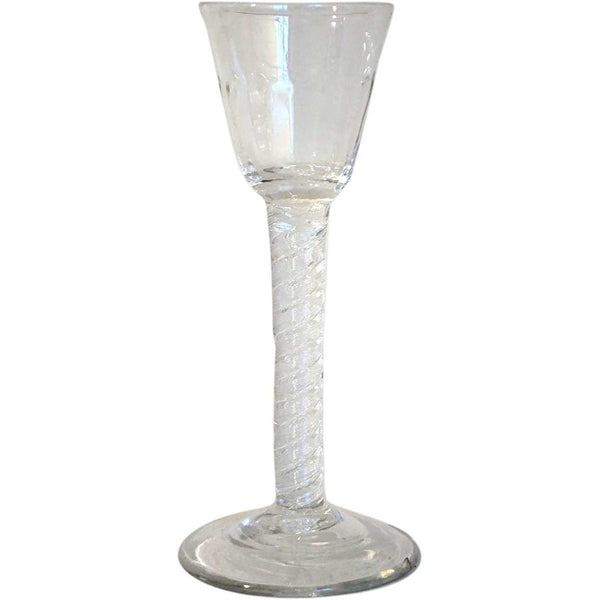 Early Double-Series Air Twist Stem Hand-blown Glass with Molded Bowl