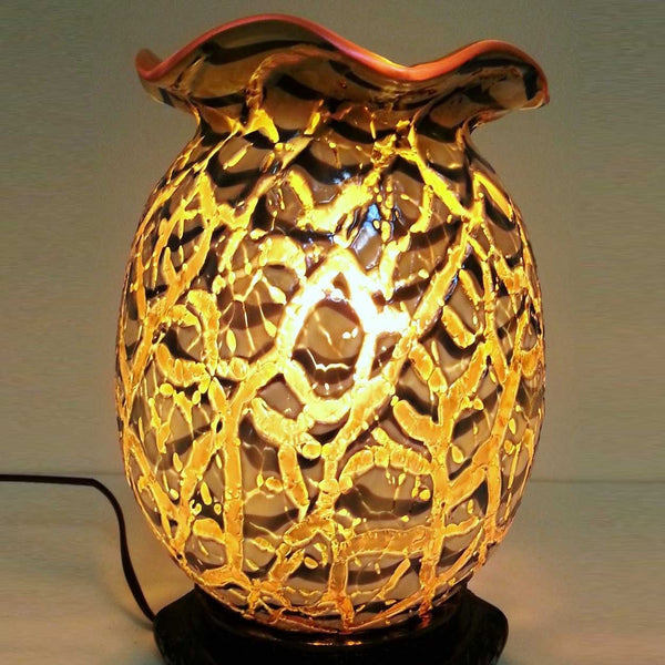 American Durand Moorish Crackle Gold Iridescent Art Glass Vase/Lamp
