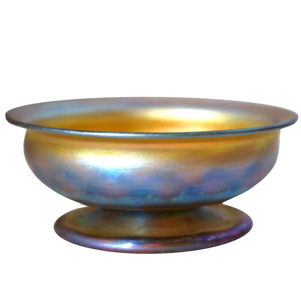 Small American Tiffany Studios Favrile Iridescent Gold Glass Footed Bowl