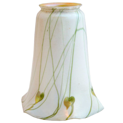 American Fostoria Iris Art Glass Gold Heart and Vine Lamp Shade