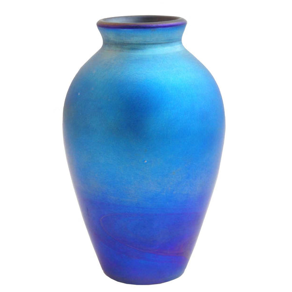 American Blue Art Glass Vase Lamp Base