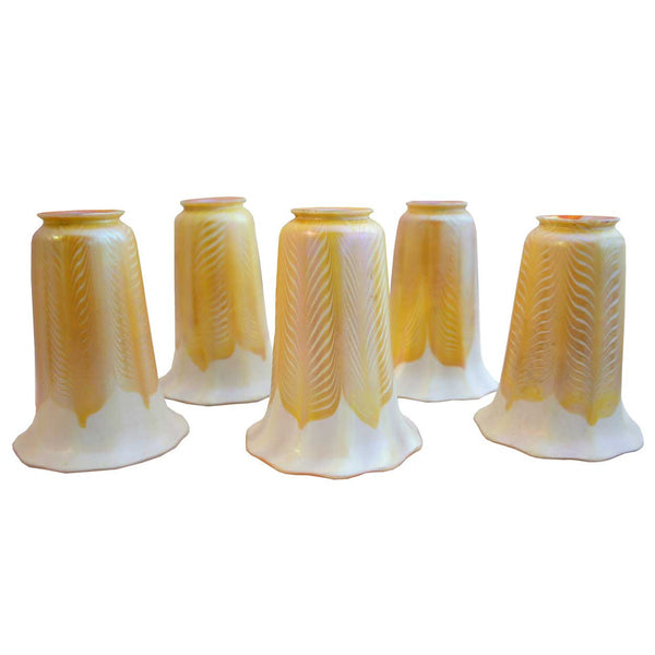 Set of Five American Quezal Iridescent Gold Glass Lamp Shades