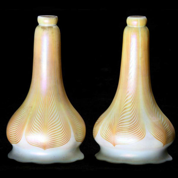Pair of American Art Glass Pulled Feather Lamp Shades