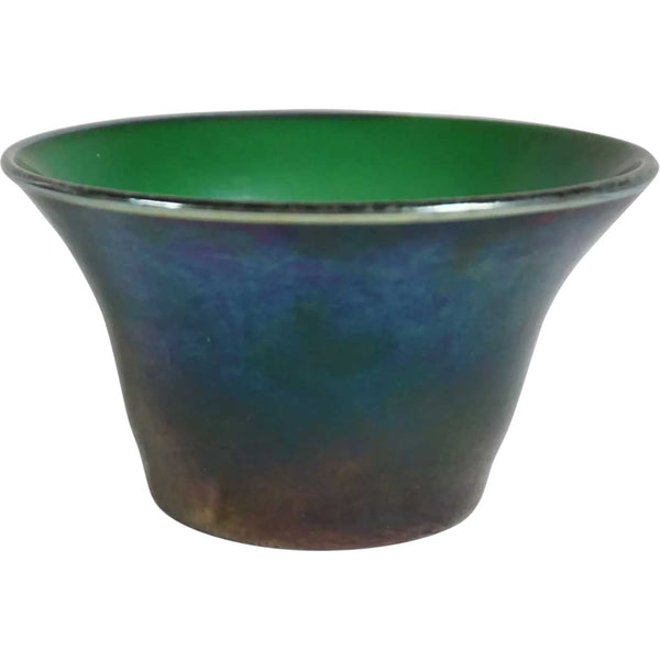 American Tiffany Studios Emerald Green Glass Bowl and Underplate