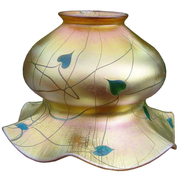 American Steuben Carder Period Gold Aurene Heart and Vine Art Glass Shade
